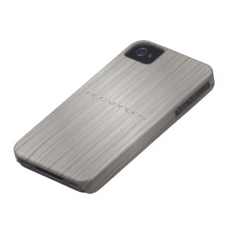 Silver  Brushed Aluminum Metal Pattern-Custom Text iPhone 4 Case-Mate Case
