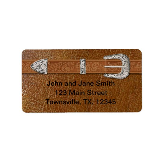 Silver Buckle and Leather Label