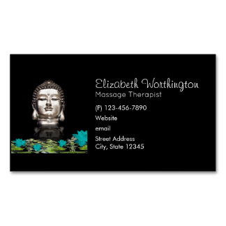 Silver Buddha Head Statue with Lotus Flowers Magnetic Business Card