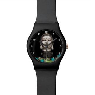 Silver Buddha Head Statue Wristwatches