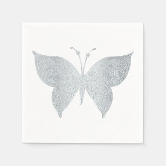 Silver Butterfly Cocktail Snack Napkins