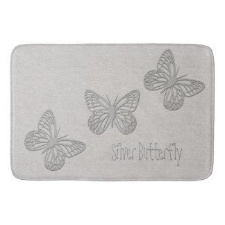 Silver Butterfly Grey Textured Bathmat