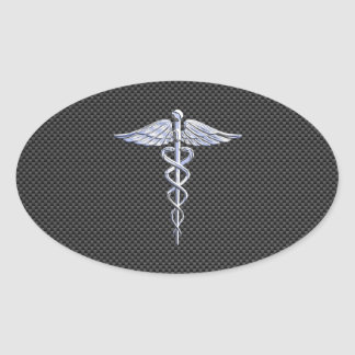 Silver Caduceus Medical Symbol Carbon Fiber Style Oval Sticker
