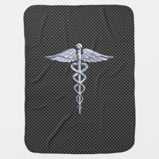 Silver Caduceus Medical Symbol Carbon Fiber Style Swaddle Blanket