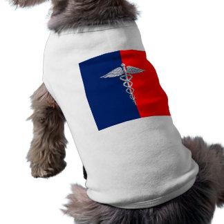 Silver Caduceus Medical Symbol League Dog T-shirt