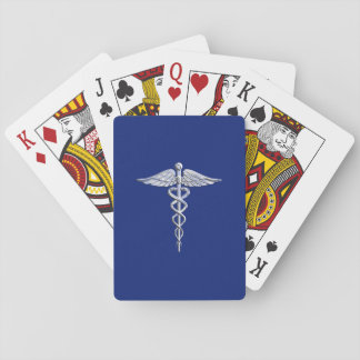 Silver Caduceus Medical Symbol on Navy Blue Decor Playing Cards