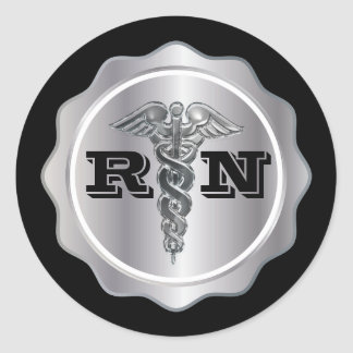 Silver Caduceus RN Nurse | Medical Classic Round Sticker