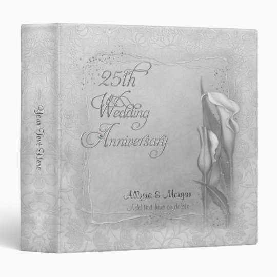 Silver Calla 25  Anniversary - Customize Vinyl Binders