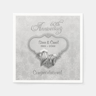 Silver Calla Lily 60th Anniversary  - Customize Paper Napkins
