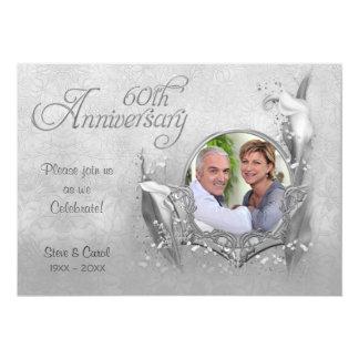 """Silver Calla Lily 60th Wedding Anniversary 5"""" X 7"""" Invitation Card"""