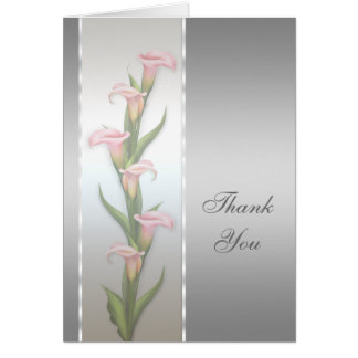 Silver Calla Lily Thank You Card