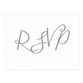 Silver calligraphy wedding RSVP postcards