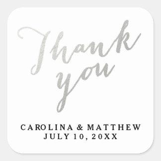 Silver Calligraphy | Wedding Thank You Sticker