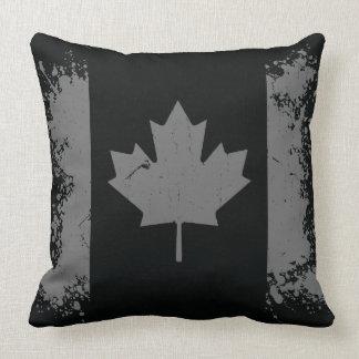 Silver Canada Grunge Flag Throw Pillow