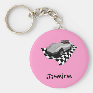 Silver Car Checker Board Flag Personalized Name Basic Round Button Keychain