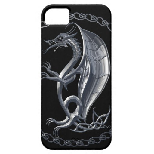 Silver Celtic Dragon iPhone 5 Case