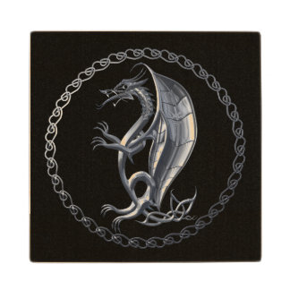 Silver Celtic Dragon Maple Wood Coaster
