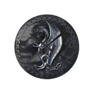 Silver Celtic Dragon Wallclocks