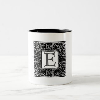 "Silver Celtic ""E"" Monogram Two-Tone Coffee Mug"