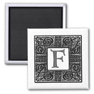 "Silver Celtic ""F"" Monogram Square Magnet"