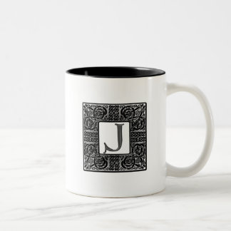 "Silver Celtic ""J"" Monogram Two-Tone Coffee Mug"