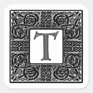 """Silver Celtic """"T"""" Monogram Square Sticker"""