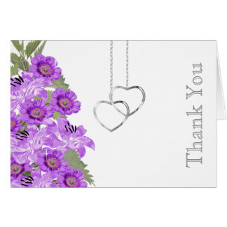 Silver Chain Hearts on White Card
