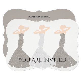 Silver Champagne Bridesmaid Bridal Invitation