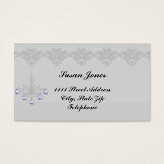 Silver Chandelier Diamond Accent Business Cards