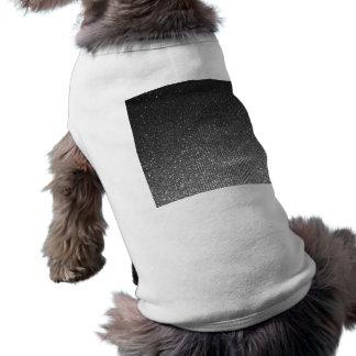 Silver Charcoal Rising Glitter Like Stripes Print Doggie Tee