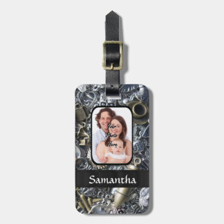 Silver charm collage personalized photo luggage tag
