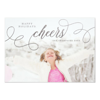 "Silver Cheers Christmas Photo Greeting Cards 5"" X 7"" Invitation Card"