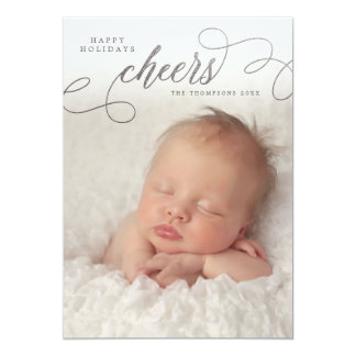 "Silver Cheers Script Overlay Photo Greeting Cards 5"" X 7"" Invitation Card"