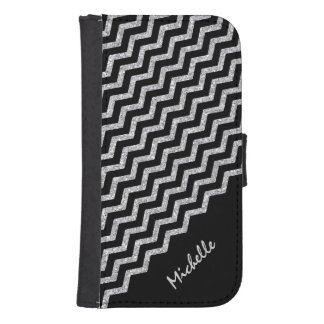 Silver Chevron Black Personalized Samsung S4 Wallet Case