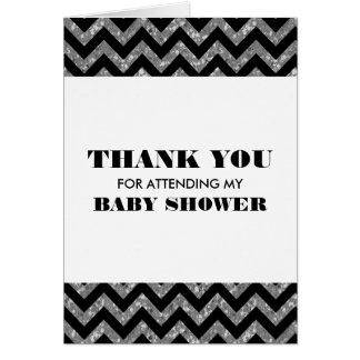 Silver Chevron Glitter Baby Shower Thank You Card