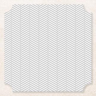 Silver Chevron Paper Coaster