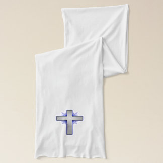 Silver Christian Cross Blue White Design Scarf