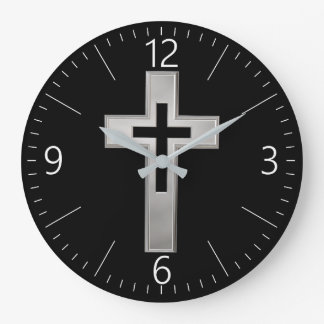 Silver Christian cross Large Clock