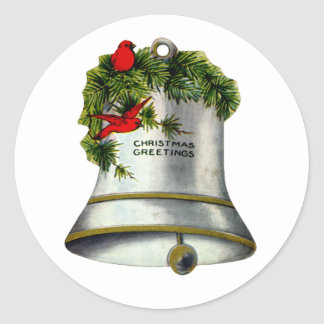 Silver Christmas Bell Classic Round Sticker