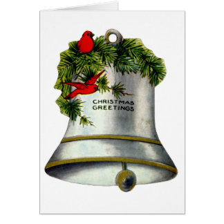 Silver Christmas Bell Greeting Card