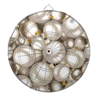 silver christmas ornaments dartboard