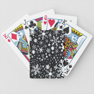 Silver Christmas Snowflakes Bicycle Playing Cards
