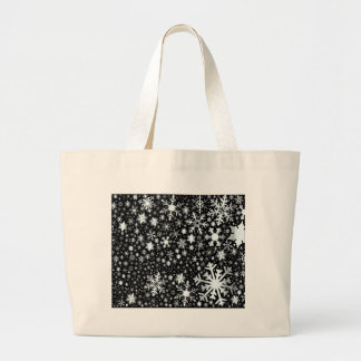 Silver Christmas Snowflakes Large Tote Bag