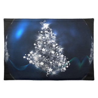 Silver Christmas Tree and blue ball Placemat