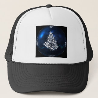 Silver Christmas Tree and blue ball Trucker Hat