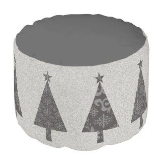 Silver Christmas Tree Stylish Elegant Black Lace Pouf