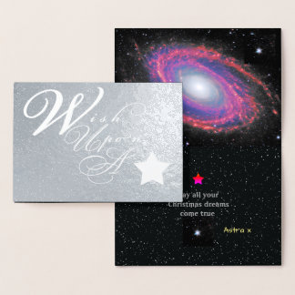 Silver Christmas Wish Upon A Star Foil Card