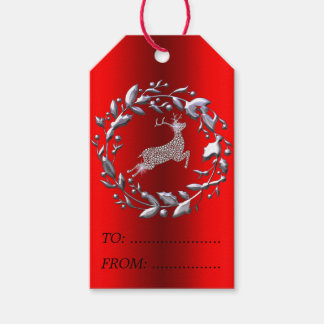 Silver Christmas Wreath and Reindeer Gift Tags