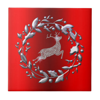 Silver Christmas Wreath and Reindeer Tile