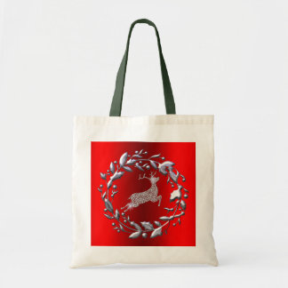 Silver Christmas Wreath and Reindeer Tote Bag